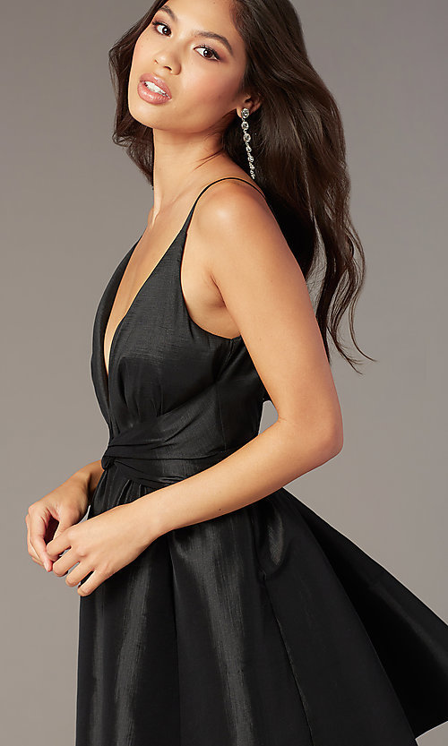 Image of short deep-v-neck knotted-waist a-line hoco dress. Style: LUX-LD5497-B Detail Image 1