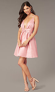 Image of short pink v-neck knotted-waist hoco dress. Style: LUX-LD5497-P Detail Image 3