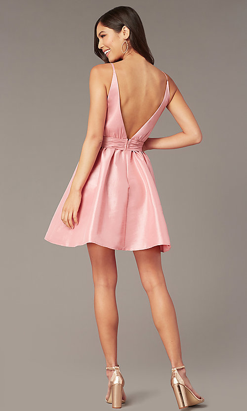 Image of short pink v-neck knotted-waist hoco dress. Style: LUX-LD5497-P Back Image