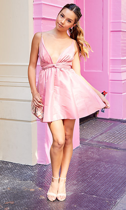 Image of short pink v-neck knotted-waist hoco dress. Style: LUX-LD5497-P Front Image