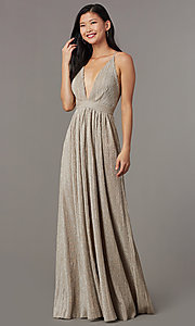 Image of mauve nude long glitter-knit v-neck prom dress. Style: LUX-LD5310 Front Image