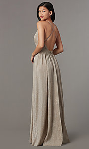 Image of mauve nude long glitter-knit v-neck prom dress. Style: LUX-LD5310 Back Image