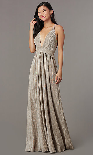 b4bb71bc18f Mauve Nude Long Glitter-Knit V-Neck Prom Dress