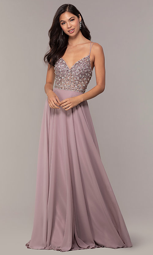94e1c7648b9 Long V-Neck Embellished Bodice Prom Dress