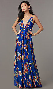 Image of long cute floral-print v-neck formal prom dress. Style: LUX-LD5480 Front Image