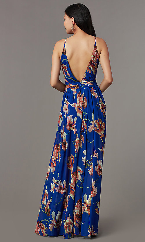 Image of long cute floral-print v-neck formal prom dress. Style: LUX-LD5480 Back Image