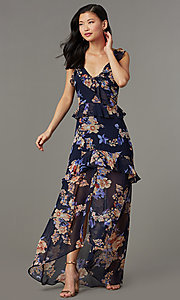 Image of v-neck maxi floral-print wedding-guest dress. Style: LUX-LD5410 Front Image