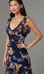 Image of v-neck maxi floral-print wedding-guest dress. Style: LUX-LD5410 Detail Image 1