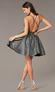 Image of short metallic v-neck homecoming dress. Style: LUX-LD5328 Back Image