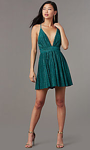 Image of deep-v-neck short glitter-knit homecoming dress. Style: LUX-LD5427 Detail Image 4