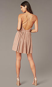 Image of deep-v-neck short glitter-knit homecoming dress. Style: LUX-LD5427 Back Image