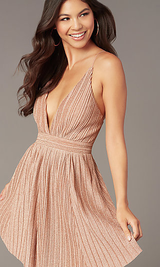 Deep-V-Neck Short Glitter-Knit Homecoming Dress