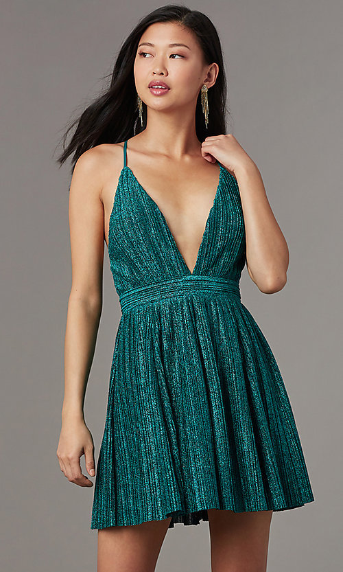 Image of deep-v-neck short glitter-knit homecoming dress. Style: LUX-LD5427 Detail Image 2