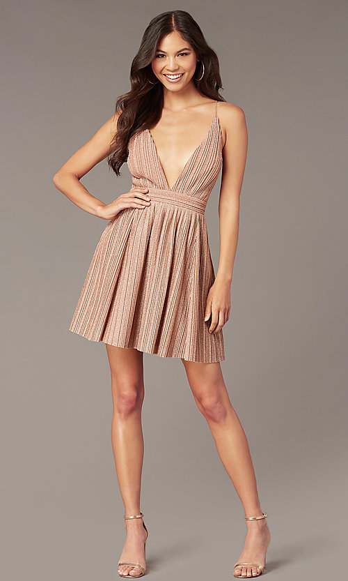 Image of deep-v-neck short glitter-knit homecoming dress. Style: LUX-LD5427 Detail Image 1