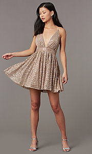 Image of short v-neck sequined homecoming dress. Style: LUX-LD5312 Front Image