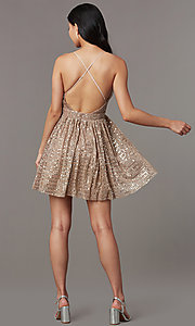 Image of short v-neck sequined homecoming dress. Style: LUX-LD5312 Detail Image 4