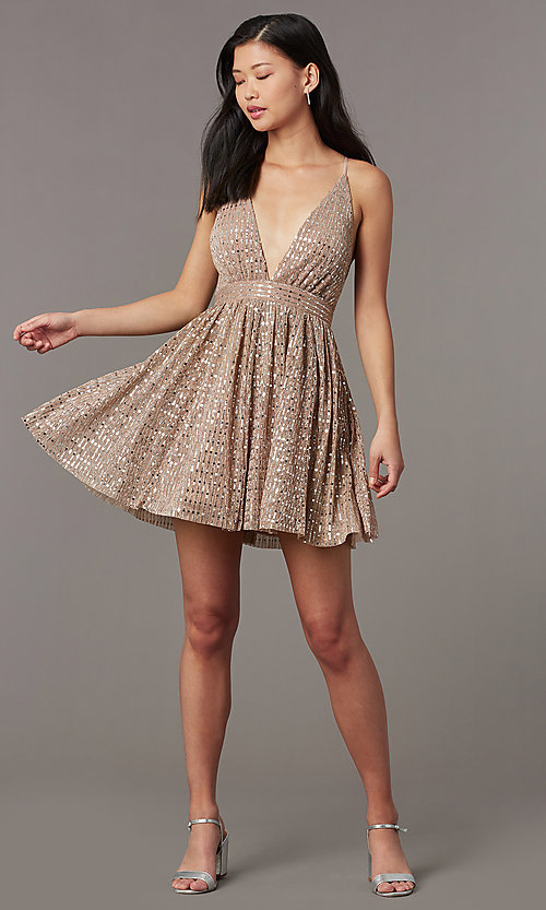 Image of short v-neck sequined homecoming dress. Style: LUX-LD5312 Detail Image 3
