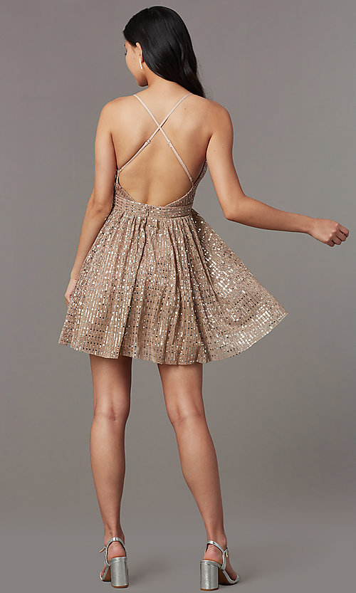 Image of short v-neck sequined homecoming dress. Style: LUX-LD5312 Back Image