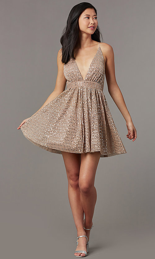 Image of short v-neck sequined homecoming dress. Style: LUX-LD5312 Detail Image 5