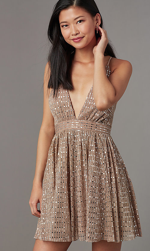 Image of short v-neck sequined homecoming dress. Style: LUX-LD5312 Detail Image 2