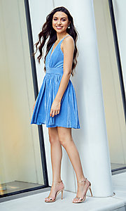 Image of pleated short v-neck pastel homecoming party dress. Style: LUX-LD5575 Detail Image 2