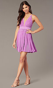 Image of pleated short v-neck pastel homecoming party dress. Style: LUX-LD5575 Front Image