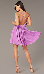 Image of pleated short v-neck pastel homecoming party dress. Style: LUX-LD5575 Back Image