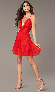 Image of short chiffon open-back red homecoming dress. Style: LUX-LD5470 Detail Image 1