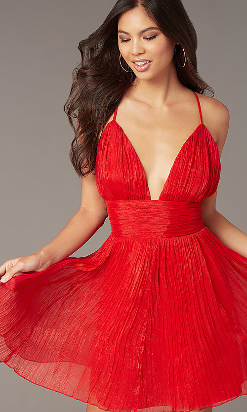 Image of short chiffon open-back red homecoming dress. Style: LUX-LD5470 Front Image