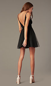 Image of short black fit-and-flare homecoming dress. Style: LUX-LD5548 Back Image