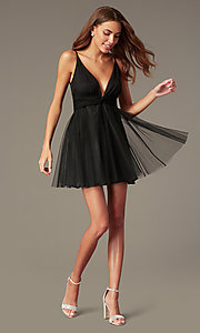 Image of short black fit-and-flare homecoming dress. Style: LUX-LD5548 Front Image