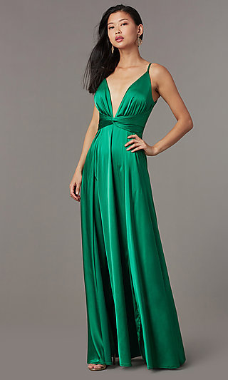 Deep-V-Neck Satin Prom Dress with Knotted Waist