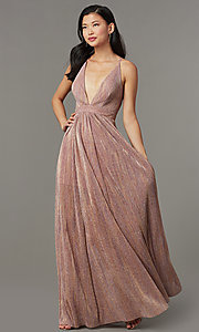 Image of long metallic-knit v-neck formal prom dress. Style: LUX-LD5541 Front Image