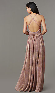 Image of long metallic-knit v-neck formal prom dress. Style: LUX-LD5541 Back Image