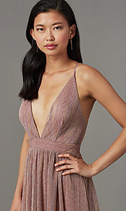 Image of long metallic-knit v-neck formal prom dress. Style: LUX-LD5541 Detail Image 2