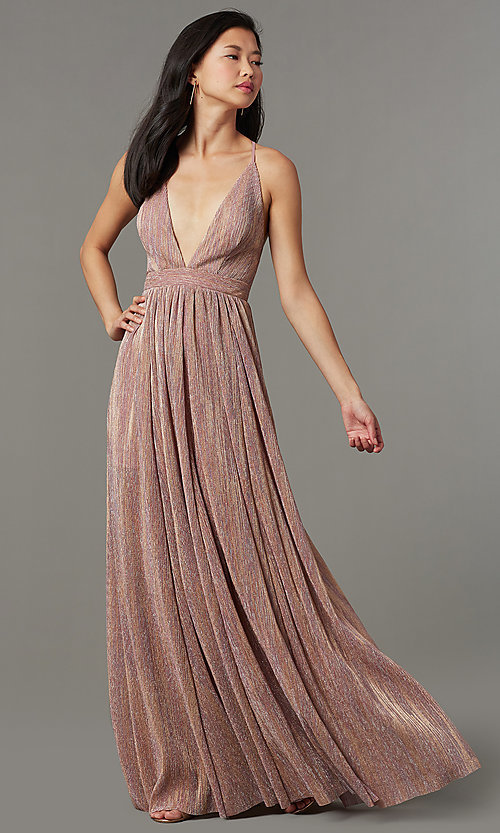 Image of long metallic-knit v-neck formal prom dress. Style: LUX-LD5541 Detail Image 1