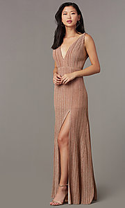 Image of long glitter-knit pleated v-neck formal prom dress. Style: LUX-LD5488 Front Image