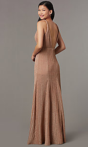 Image of long glitter-knit pleated v-neck formal prom dress. Style: LUX-LD5488 Back Image