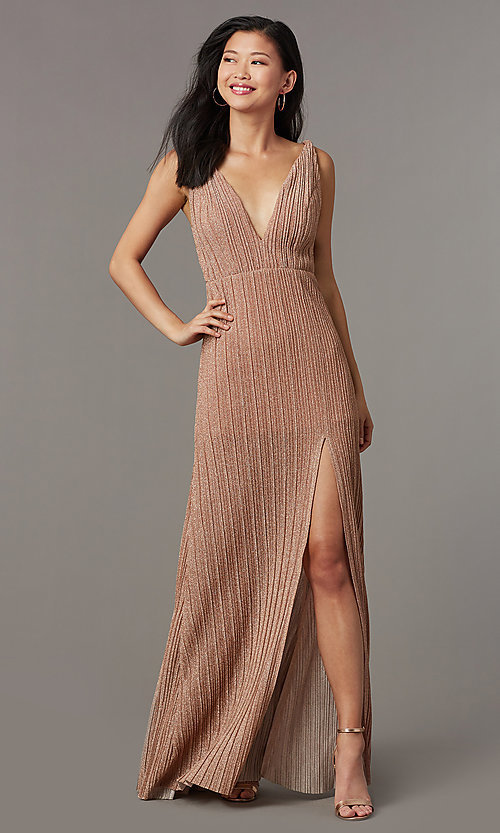 Image of long glitter-knit pleated v-neck formal prom dress. Style: LUX-LD5488 Detail Image 2