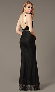 Image of long lace black prom dress with sheer waist. Style: LUX-LD5362 Back Image