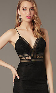 Image of long lace black prom dress with sheer waist. Style: LUX-LD5362 Detail Image 1