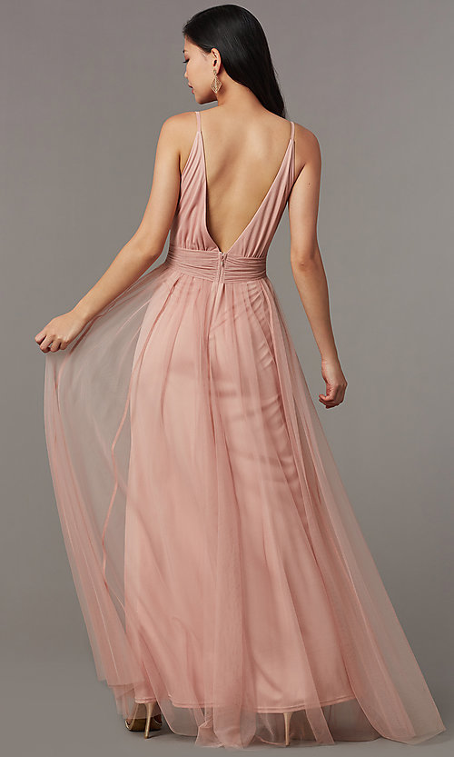 Image of long v-neck prom dress with knotted waist. Style: LUX-LD5462 Back Image