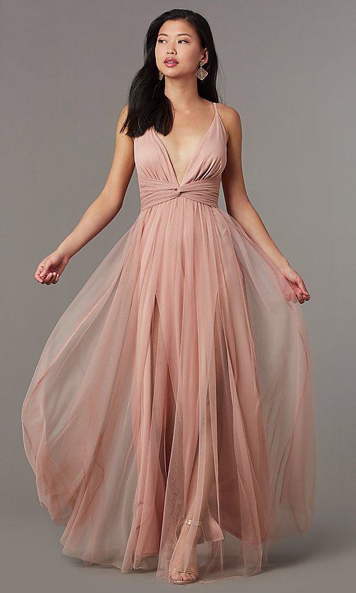 Image of long v-neck prom dress with knotted waist. Style: LUX-LD5462 Detail Image 2