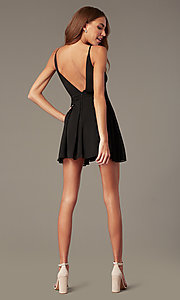 Image of plunging-v-neck black homecoming dress. Style: LUX-LD5683 Back Image
