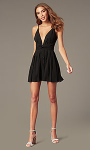 Image of plunging-v-neck black homecoming dress. Style: LUX-LD5683 Detail Image 1