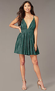 Image of metallic short v-neck homecoming green party dress. Style: LUX-LD5525 Detail Image 2