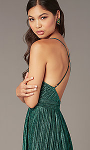 Image of metallic short v-neck homecoming green party dress. Style: LUX-LD5525 Detail Image 1