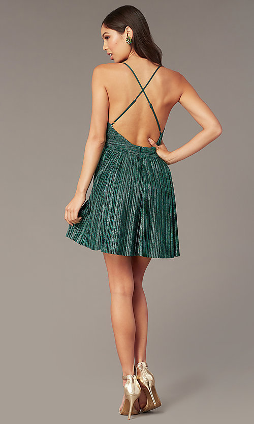 Image of metallic short v-neck homecoming green party dress. Style: LUX-LD5525 Detail Image 3