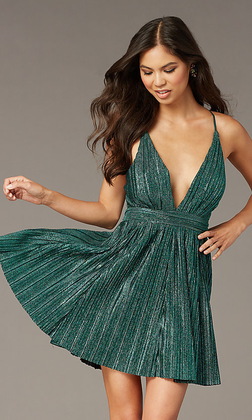 Image of metallic short v-neck homecoming green party dress. Style: LUX-LD5525 Front Image
