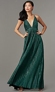 Image of backless long green glitter-knit formal prom dress. Style: LUX-LD5676 Front Image